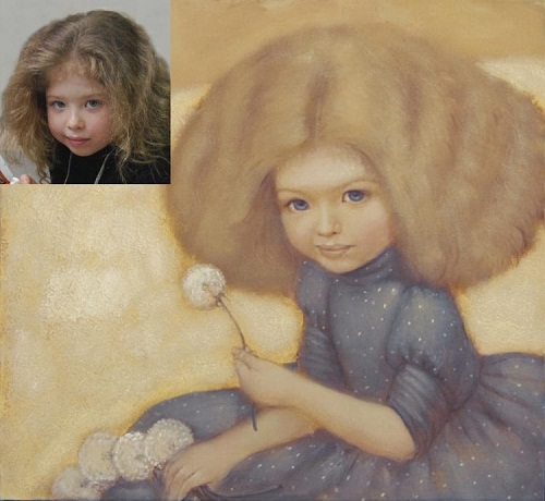 Original and copy. A girl with dandelions