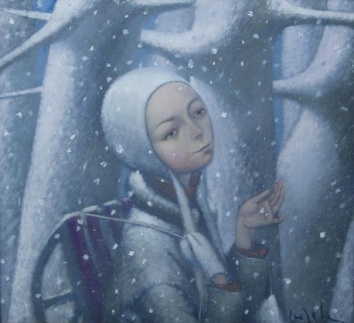 Snow is falling. Winter tenderness in painting by Russian artist Natalia Syuzeva