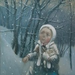 In the forest. Winter tenderness in painting by Russian artist Natalia Syuzeva
