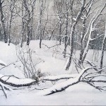 Landscape. Winter forest. Painting by Russian artist Natalia Syuzeva