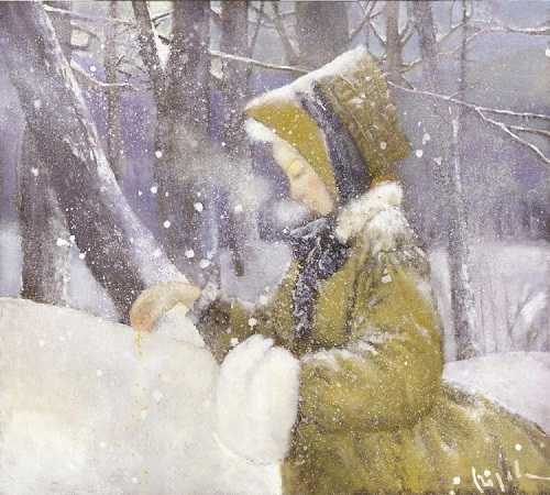 Feeding birds. Winter tenderness in painting by Russian artist Natalia Syuzeva