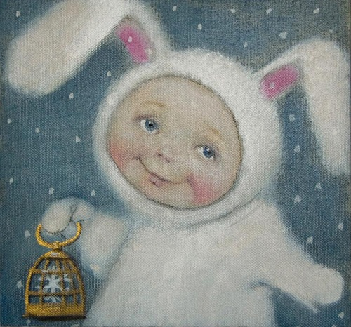A baby in a hare costume with a bird cage. Winter tenderness in painting by Russian artist Natalia Syuzeva