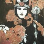 Venetian mask. Paintings by Moldavian artist Robert Andersen