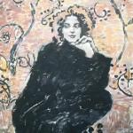 Beautiful woman in a black dress. Painting by Robert Andersen