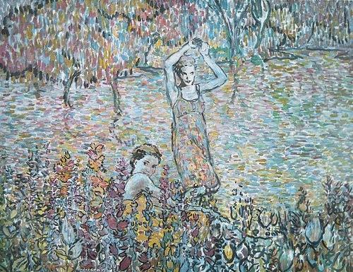 Bathing in a river. Painting by Robert Andersen