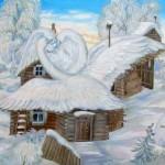 White swan. Painting by Russian artist Roman Urbinskiy