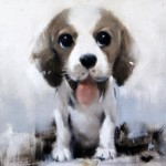 "Puppy, from the series of animal portraits ""Puppies"". Oil on canvas, 2012. Painting by Italian artist Tina Bruno"