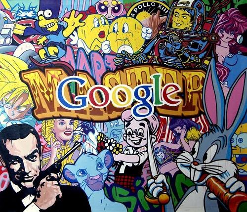 Google search colorful poster. Painting by Italian artist Tina Bruno
