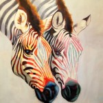 Two zebras. Oil on canvas. 2013. Painting by Italian artist Tina Bruno