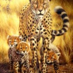 Jaguar family. Painting by Italian artist Tina Bruno