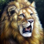 Roaring Lion. Oil on canvas, 2011. Painting by Italian artist Tina Bruno