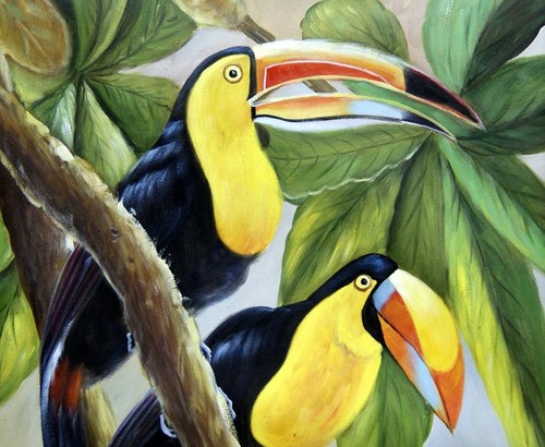 Beautiful Toucans. Oil on canvas. 2011. Painting by Neapol based artist Tina Bruno