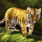 Little tiger. Oil on canvas. Painting by Italian artist Tina Bruno