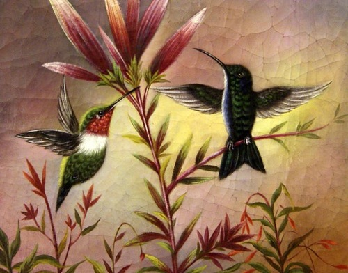 Searching for nectar Humming bird. Oil on canvas, 2011. Painting by Italian artist Tina Bruno