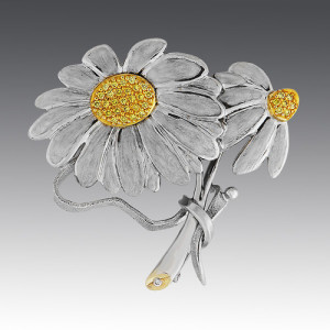 brooch. Stones Diamonds, enamel. Material Gold 750
