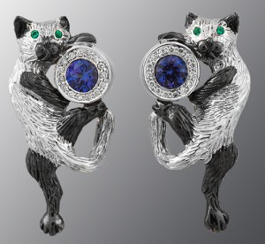 earrings and ring, diamond, thermal alexandrite, gold 585