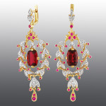 earrings. Stones diamond grit, ruby, tourmaline, Material Gold 585