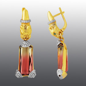 earrings. Stones diamonds, Emerald, Tourmaline. Material Gold 750
