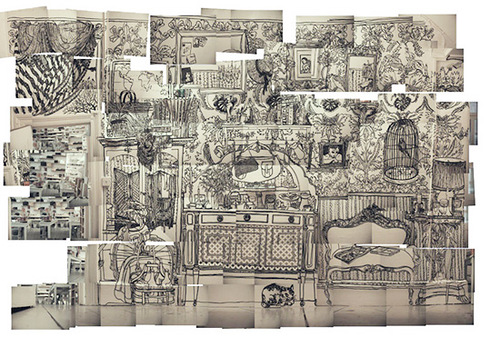 Drawings on walls by Charlotte Mann