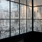 Black marker Drawings on walls by British artist Charlotte Mann