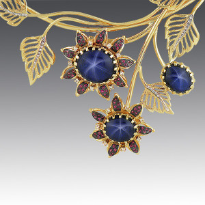necklace. Stones Diamonds, star-shaped sapphire, rhodolite