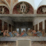 The abandoned version of Leonardo da Vinci's 'The last supper' (1495-1498). Painting by Bence Hajdu