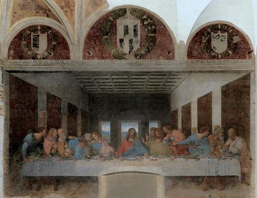 The abandoned version of Leonardo da Vinci's 'The last supper' (1495-1498). Painting by Bence Hajdu