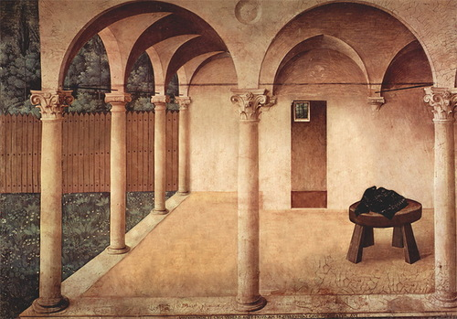 Here is the abandoned version of 'The annunciation', created by Italian master Fra Angelico in 1450. Painting by Bence Hajdu