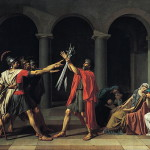 "Located in Louvre, Paris original version of ""Oath of the Horatii"" by French artist Jacques-louis David, 1784"