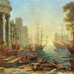 Original version of painting by French painter Claude Lorrain 'Seaport with the embarkation of st. Ursula' 1641