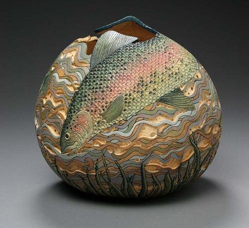 Sea fish. Beautiful pumpkin carving by American artist Marilyn Sunderland
