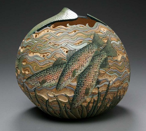Sea world and fish. pumpkin carving by American artist Marilyn Sunderland