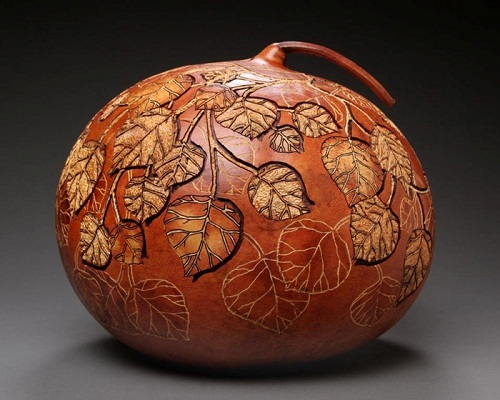 Delicate pumpkin carving by American artist Marilyn Sunderland