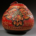 Beautiful vase, one-of-a-kind pumpkin carving by American artist Marilyn Sunderland