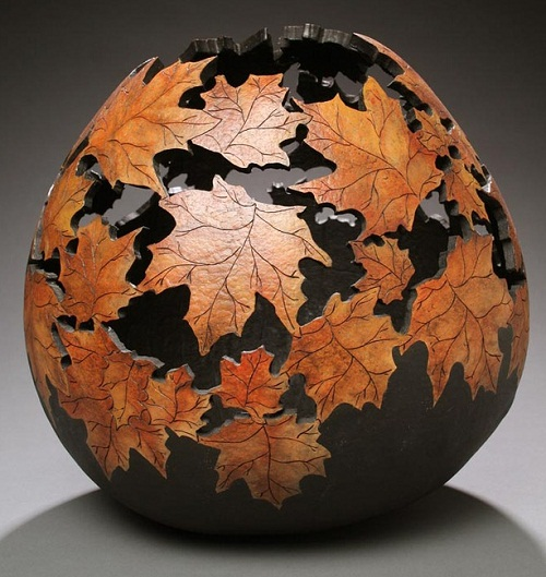 Stunning work of pumpkin carving – autumn leaves vase by Marilyn Sunderland