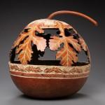 Oak leaves. Pumpkin carving by American artist Marilyn Sunderland