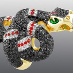 ring, Stones Br Kr57, sapphire, enamel, gold 585