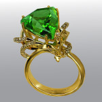 ring. Stones Diamonds, chrysolite. Material Gold 750