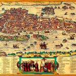 The map of Venice shows most of the buildings of 1565. The maps in this style is still quite common in tourist postcards and in guidebooks of the city