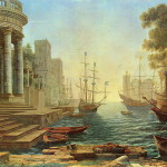 "Remade version of ""Seaport with the embarkation of st. Ursula"" 1641, abandoned by people. Painting by Hungarian artist Bence Hajdu"