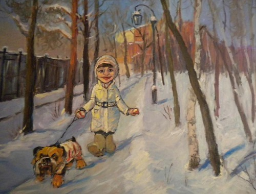 walking. 2010. Naive art by Vladimir Usatov