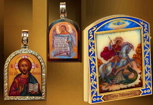 Decorated with Rostov finift icons (suspensions)