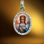 Pendant with the image of saint. Rostov finift