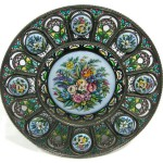 Decorative plate with enamel inserts