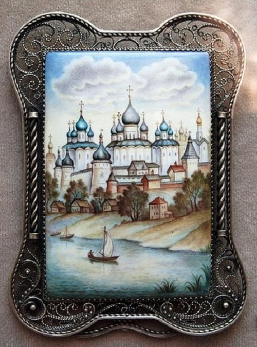 Painting on Rostov finift
