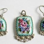 Pendant and two earrings. Russian enamel – Rostov finift