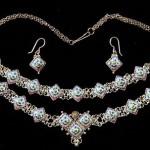 Bracelet, necklace and earrings. Rostov finift