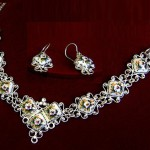 Earrings and necklace. Rostov finift