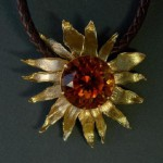Sunflower pendant, gold, citrine