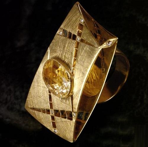 Ring 'sail', 2004, gold, diamonds, rutile Quartz